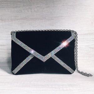 Handbags - Vintage Velvet Envelope Purse With Rainbow Glitter